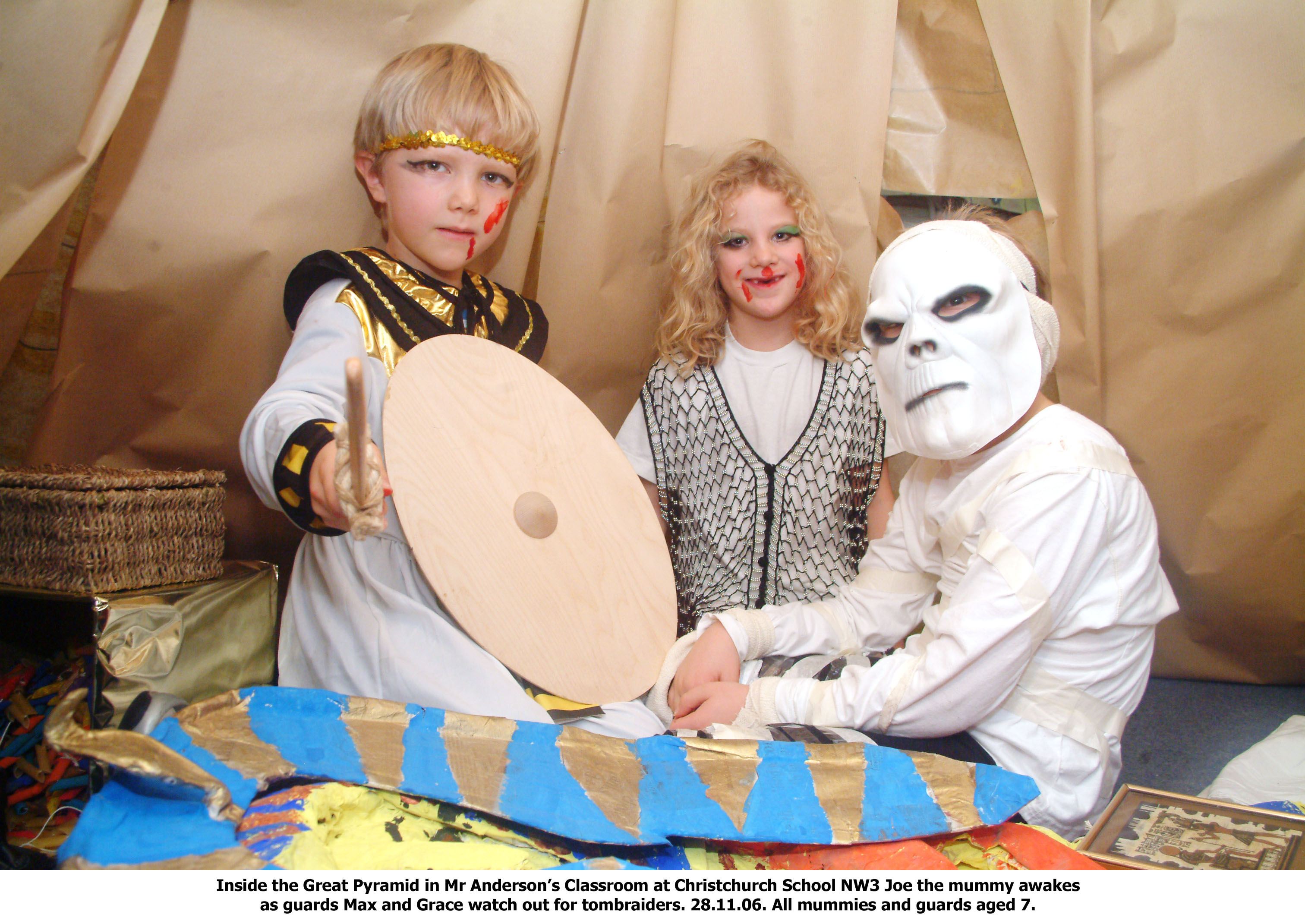 children dressed as Mummies
